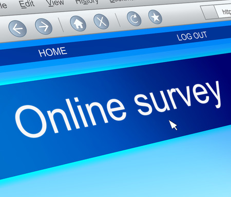 canvass: Illustration depicting a computer screen capture with an online survey concept.
