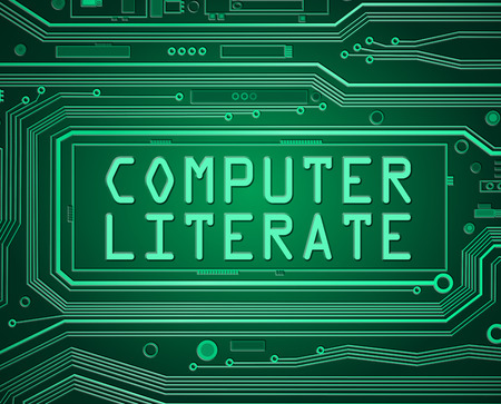 literate: Abstract style illustration depicting printed circuit board components with a computer literate concept.
