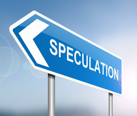 deliberation: Illustration depicting a sign with a speculation concept.