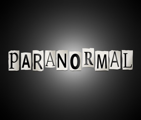 Illustration depicting a set of cut out printed letters arranged to form the word paranormal. Stock Photo