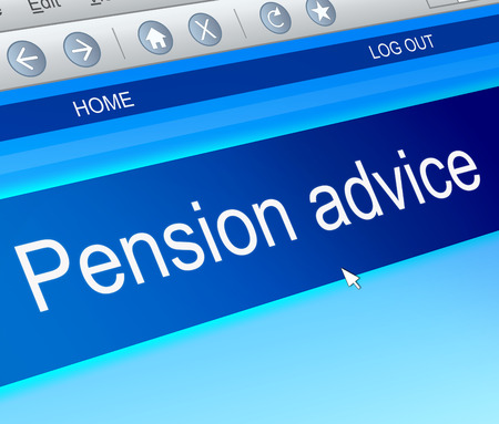 annuity: Illustration depicting a computer screen capture with a pension concept.