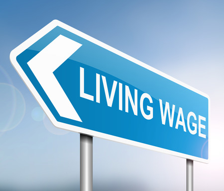 living: Illustration depicting a sign with a living wage concept. Stock Photo