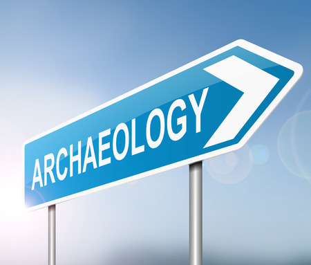 archaeological: Illustration depicting a sign with an archaeology concept.