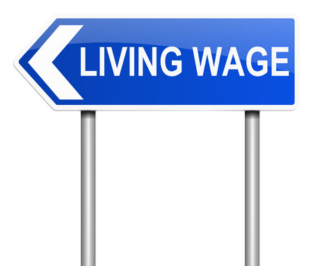 incomes: Illustration depicting a sign with a living wage concept. Stock Photo