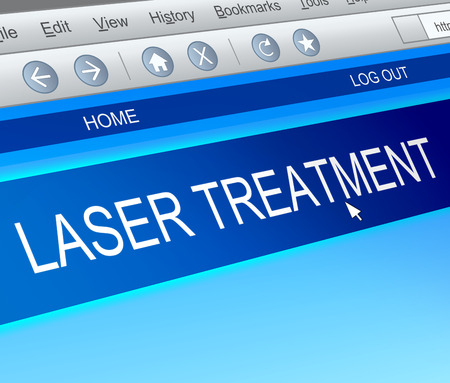 laser: Illustration depicting a computer screen capture with a laser treatment concept.