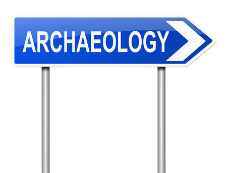 archaeology: Illustration depicting a sign with an archaeology concept.