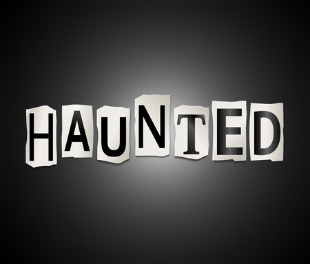 obsessed: Illustration depicting a set of cut out printed letters arranged to form the word haunted.