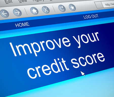 Illustration depicting a computer screen capture with a credit score concept. 스톡 콘텐츠