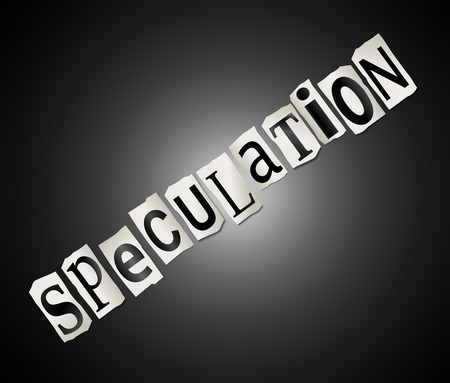 Illustration depicting a set of cut out printed letters arranged to form the word speculation.