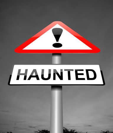 ghostly: Illustration depicting a sign with a haunted concept.