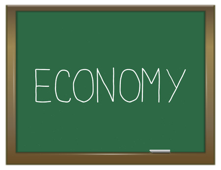 green economy: Illustration depicting a green chalkboard with an economy concept.