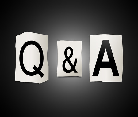 enquire: Illustration depicting a set of cut out printed letters arranged to form Q&A.
