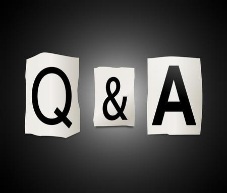 ritagliare: Illustrazione raffigurante un insieme di lettere stampate ritagliate disposti a formare Q & A. Archivio Fotografico