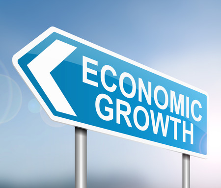 economics: Illustration depicting a sign with an economic growth concept.