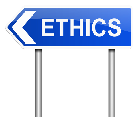 morals: Illustration depicting a sign with an ethics concept.
