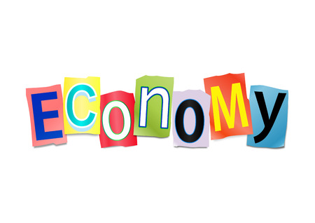 printed: Illustration depicting a set of cut out printed letters arranged to form the word economy.