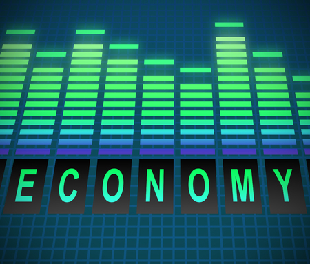 graphic equalizer: Illustration depicting graphic equalizer levels with an economy concept.