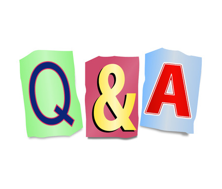 considering: Illustration depicting a set of cut out printed letters arranged to form Q&A.