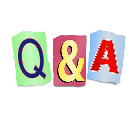 control de calidad: Ilustración que muestra un conjunto de letras impresas recortadas dispuesto para formar Q & A.