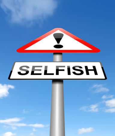 warn: Illustration depicting a sign with a selfish concept. Stock Photo