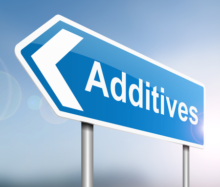 additives: Illustration depicting a sign with an additives concept. Stock Photo