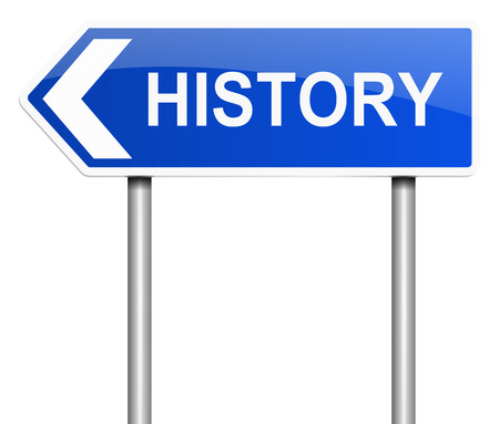 time account: Illustration depicting a sign with a History concept.