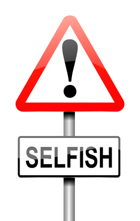 egoistic: Illustration depicting a sign with a selfish concept. Stock Photo