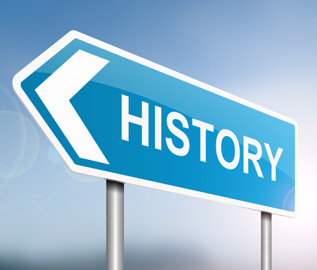 story time: Illustration depicting a sign with a History concept.