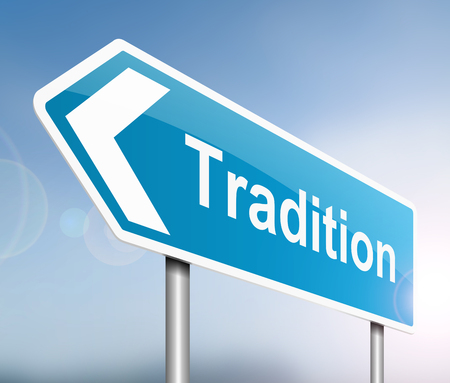 Illustration depicting a sign with a tradition concept. Stock Photo