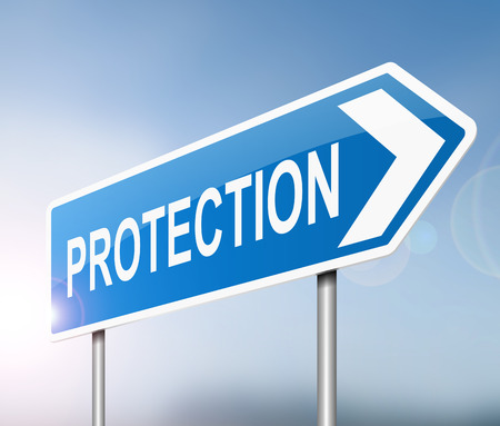 protection risks: Illustration depicting a sign with a protection concept.
