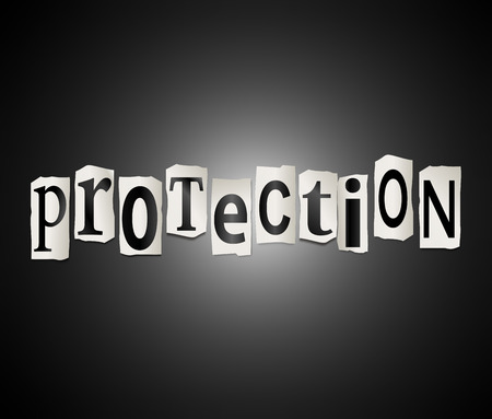 protection concept: Illustration depicting a set of cut out printed letters arranged to form the word protection. Stock Photo