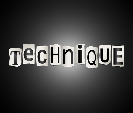 illustration technique: Illustration depicting a set of cut out printed letters arranged to form the word technique.