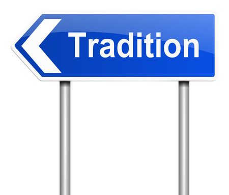 lore: Illustration depicting a sign with a tradition concept. Stock Photo
