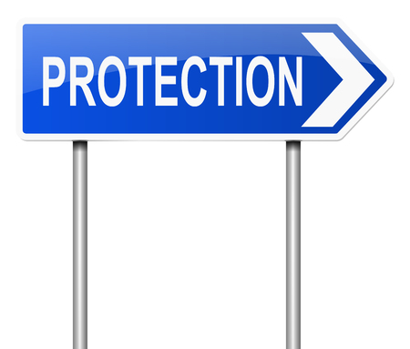 prevention: Illustration depicting a sign with a protection concept.