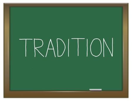 伝統: イラストを描いた伝統概念と緑の黒板。