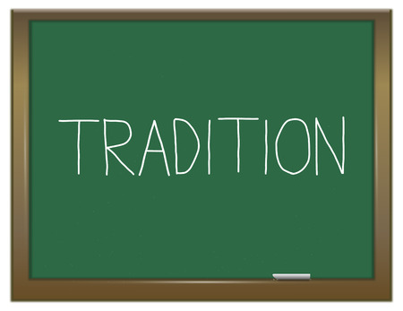 convention: Illustration depicting a green chalkboard with a tradition concept. Stock Photo
