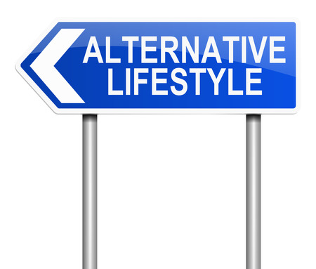 alternative: Illustration depicting a sign with an alternative lifestyle concept. Stock Photo