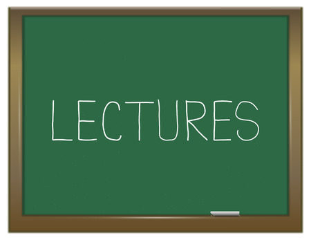 lectures: Illustration depicting a green chalkboard with a lectures concept.