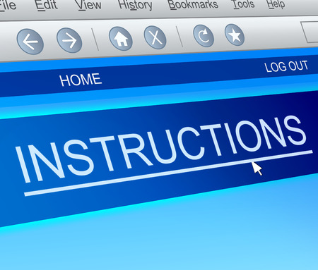 instructions: Illustration depicting a computer screen capture with an instructions concept. Stock Photo