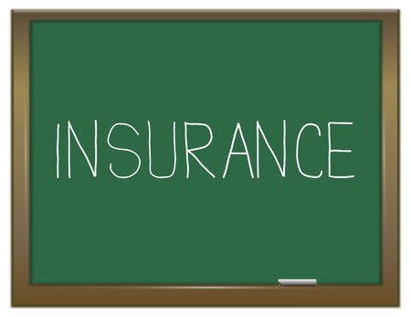backing: Illustration depicting a green chalkboard with an insurance concept.