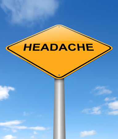 hassle: Illustration depicting a sign with a headache concept. Stock Photo