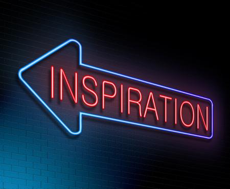 awakening: Illustration depicting an illuminated neon sign with an inspiration concept. Stock Photo