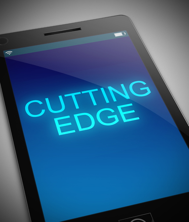 cutting edge: Illustration depicting a phone with a cutting edge concept. Stock Photo