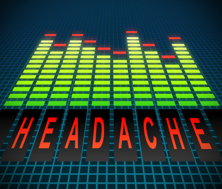 Illustration depicting graphic equalizer levels with a headache concept. Stock Photo