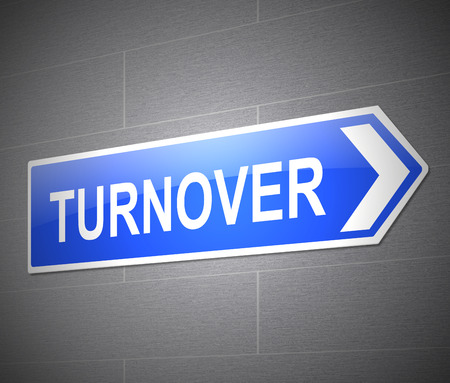 turnover: Illustration depicting a sign with a turnover concept. Stock Photo