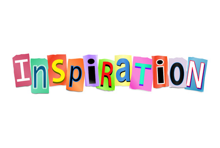 encouragements: Illustration depicting a set of cut out printed letters arranged to form the word inspiration.