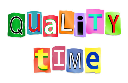 quality time: Illustration depicting a set of cut out printed letters arranged to form the words quality time. Stock Photo