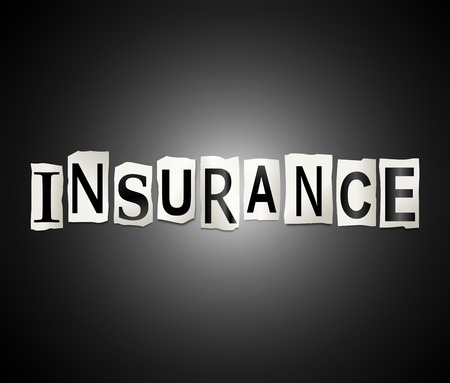 backing: Illustration depicting a set of cut out printed letters arranged to form the word insurance. Stock Photo