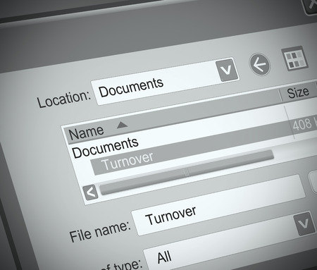 Illustration depicting a computer file with a turnover concept. Stock Photo