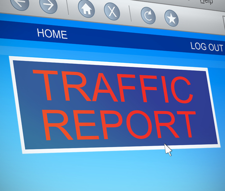 gridlock: Illustration depicting a computer screen capture with a traffic report concept.
